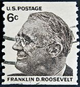 USA-CIRCA 1966:A stamp printed in USA shows image of the Franklin Delano Roosevelt circa 1966.