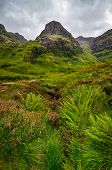 View Of Glen Coe Mountains With Greenery Foreground, Scotland