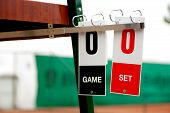 stock photo of zero  - Game and set tennis cards before start of the game - JPG