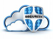 image of antivirus  - Blue Cloud security on white background  - JPG