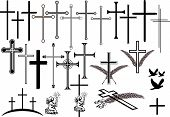 image of obituary  - collection of crosses in different designs and other orbituaray symbols - JPG