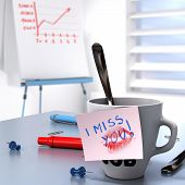 image of interoffice  - Romantic workplace relationship concept consisting of one mug and a note where it is written I miss you and a flipchart with growing chart - JPG