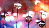 Abstract Colorful Background With Glass Spherical Design Elements Of Modern Chandelier And Natural L