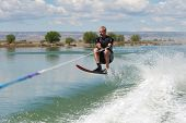 Mature Man Slalom Water Skiing