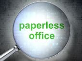 Finance concept: Paperless Office with optical glass