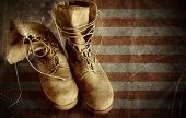 Us Army Boots On The Old Paper Flag Background