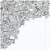 Inky Back to School Notebook Doodles with Apple, Soccer Ball, Art Supplies and Book- Hand-Drawn Vect