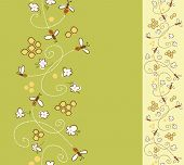 card with honey bees in a honeycomb. vertical seamless pattern.