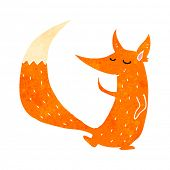 retro cartoon cute fox