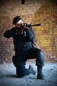 picture of m4  - Armed man with M4 rifle  - JPG