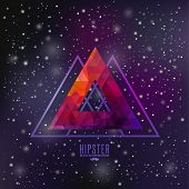 Hipster background made of triangles and space background