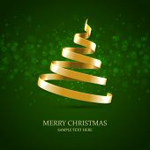 Christmas tree from gold ribbon vector background. Christmas card or invitation.