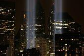 NEW YORK - SEPTEMBER 11: The Tribute in Light installation is seen in lower Manhattan on September 1
