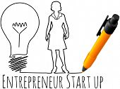 stock photo of entrepreneur  - Business plan drawing of female entrepreneur startup idea light bulb - JPG