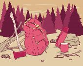 Camping objects in the woods