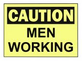 stock photo of osha  - OSHA caution men working warning sign isolated on white - JPG