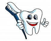 Smiling tooth with tooth-brush