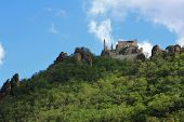 WACHAU, AUSTRIA - AUGUST, 12 : Ruins of Durnstein Castle on the rocks on August 12, 2012. It was bui