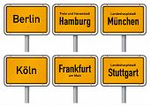 City limits signs of six major cities in Germany - Berlin, Hamburg, Munich, Cologne, Frankfurt and S
