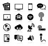 image of antenna  - Set of icons representing media and broadcasting - JPG