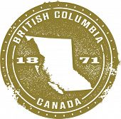 British Columbia Canada Vintage Style Stamp