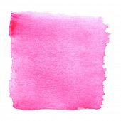 Abstract watercolor art hand paint isolated on white background. Watercolor stains. Square pink wate