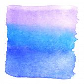 Abstract watercolor art hand paint isolated on white background. Watercolor stains. Square purple-blue watercolor banner