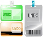 Undo. Id cards. Raster illustration.