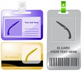 Hand saw. Vector id cards.
