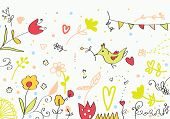 Floral cute banner with flowers birds hearts