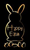 Happy Easter text and bunny  in gold