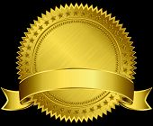 Gold Blank Label With Golden Ribbon, Vector Illustration