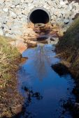 stock photo of swales  - A storm drain on a sunny day reflecting a tree in the outflow - JPG