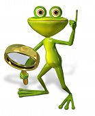 stock photo of glass frog  - 3d illustration merry green frog with magnifying - JPG