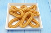 foto of churros  - Several fried churros with olive oil typical of Spain - JPG