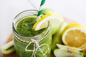 Fresh Organic Green Smoothie With Salad, Apple, Cucumber, Pineapple