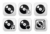 Vinyl record, dj vector buttons set