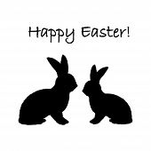 Monochrome Silhouette Of Two Easter Bunny Rabbits. Design Easter Uncolored Card