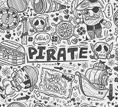 image of pirate hat  - seamless doodle pirate pattern