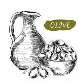 Jug and olives