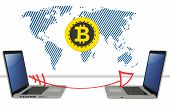 3D Bitcoin With Laptops Exchanging Global Currency