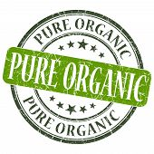 Pure Organic Green Grunge Round Stamp On White Background