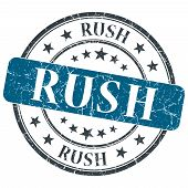 Rush Blue Grunge Round Stamp On White Background