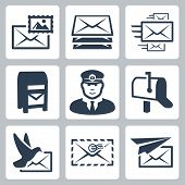 stock photo of postbox  - Vector post service icons set over white - JPG