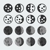 Vector Phases Of The Moon Icons Set
