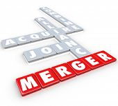Merger Word Letter Tiles Alliance Join Combine Acquire Businesses