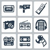 image of magnetic tape  - a Vector isolated retro technology icons set - JPG