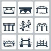 stock photo of suspension  - Vector isolated bridges icons set over white - JPG