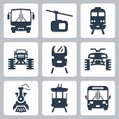 image of four-wheelers  - Vector isolated transportation icons set over white - JPG