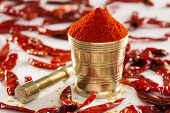 image of chillies  - Red Chilly powder is made from dried Kashimiri chillies